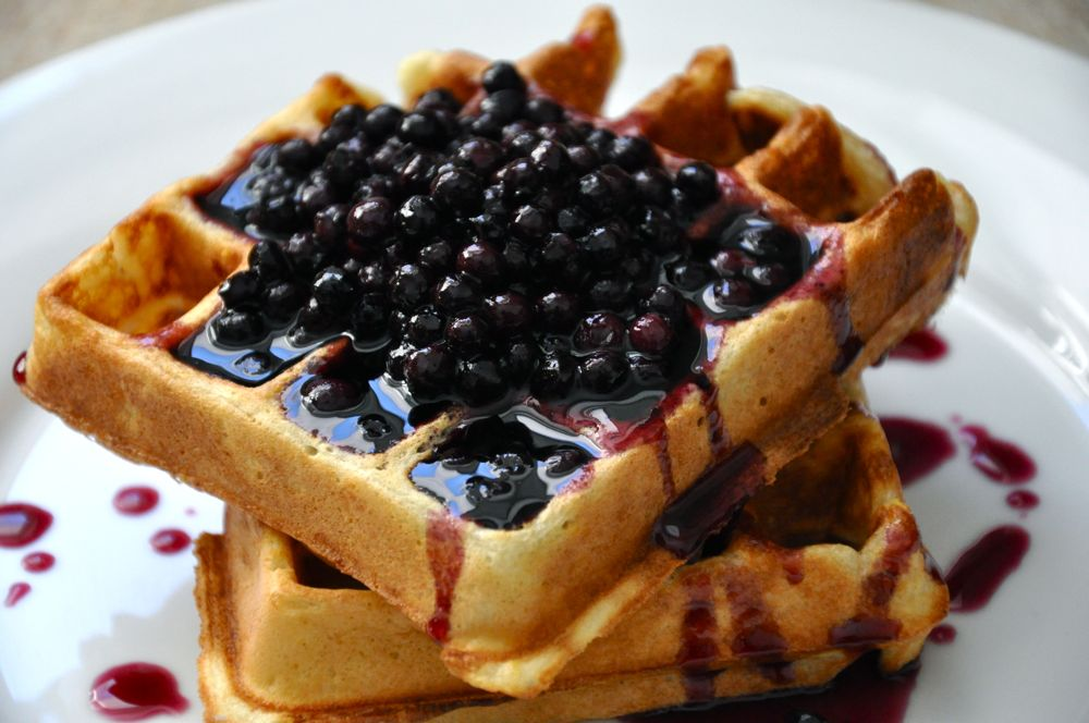 Candied Bacon Buttermilk Waffles with Blueberry Maple Syrup Recipe ...