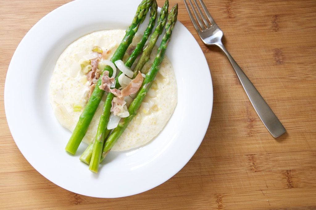 Soft Polenta with Asparagus, Proscuitto and Spring Onions Recipe // Dula Notes