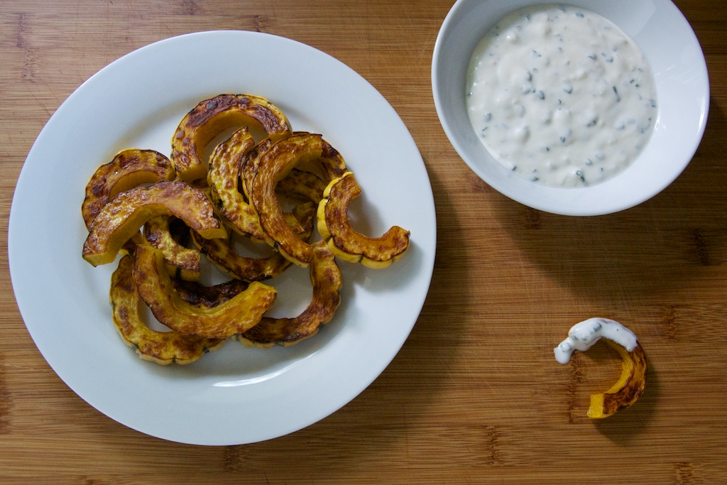 Roasted Delicata Squash with Yogurt Chive Dipping Sauce Recipe // Dula ...