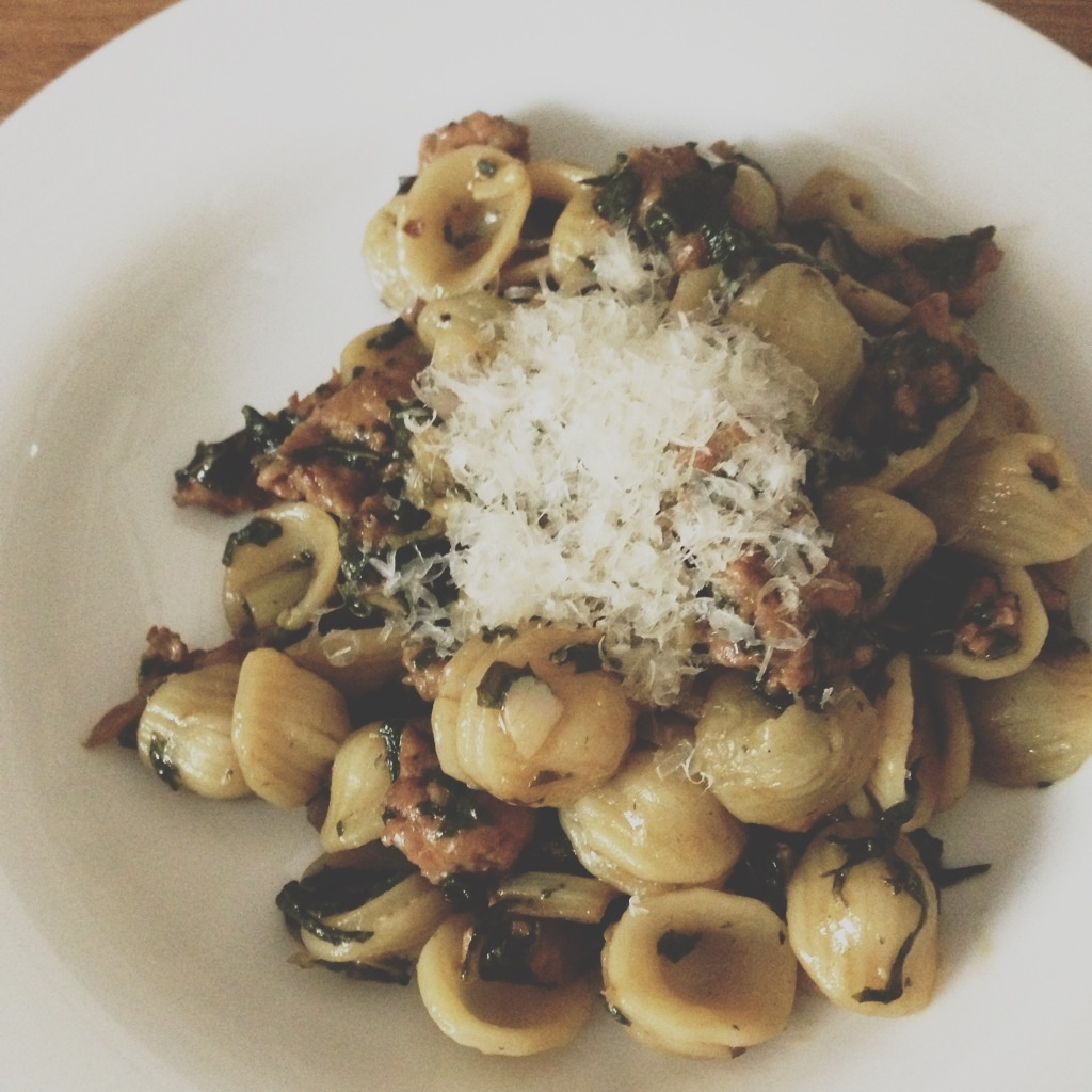 Orecchiette with Sausage and Rainbow Chard