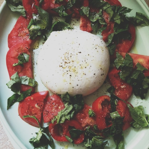 Burrata, summer tomatoes and basil // Dula Notes