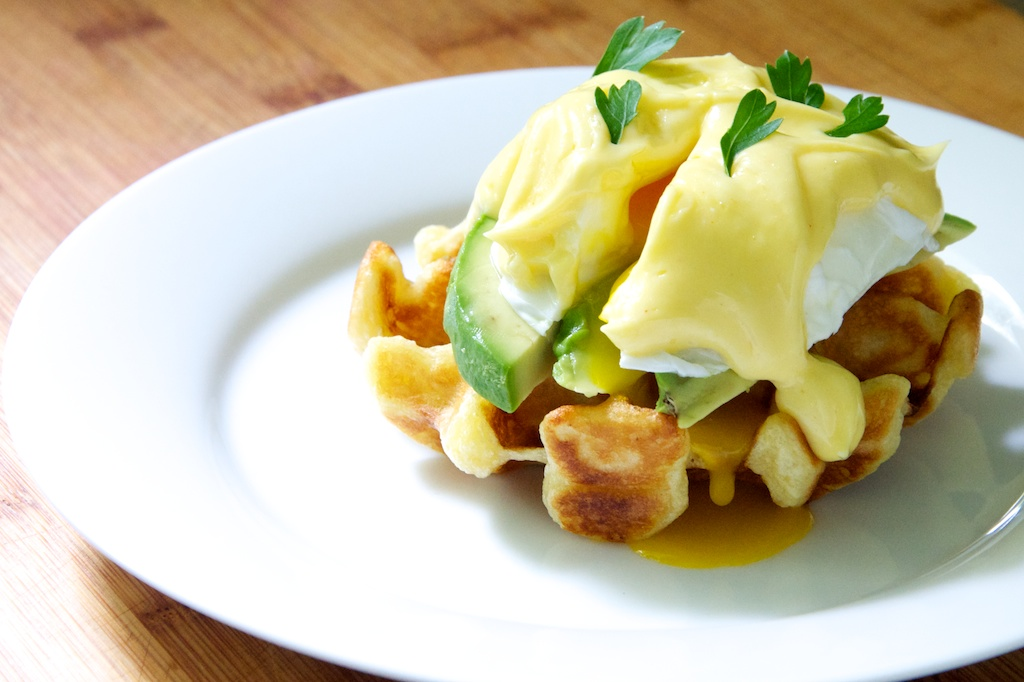 Waffle Eggs Benedict with Avocado Recipe // Dula Notes