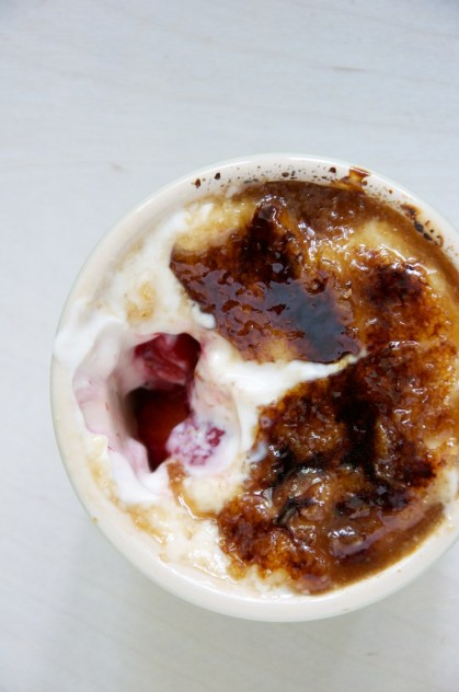 Strawberries and Yogurt Brulee Recipe // https://www.dulanotes.com/