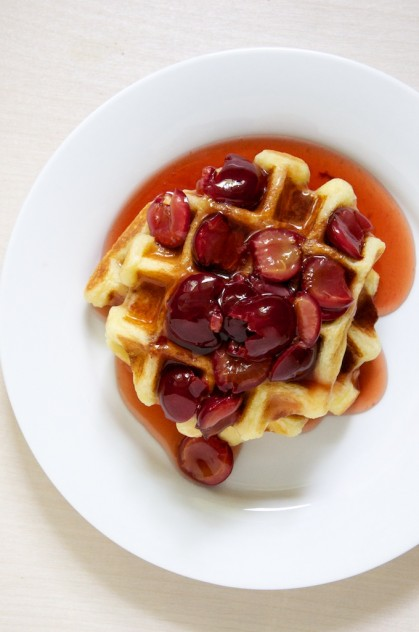 Best Buttermilk Waffles with Sour Cherry Maple Syrup Recipe // www.dulanotes.com @nicoledula