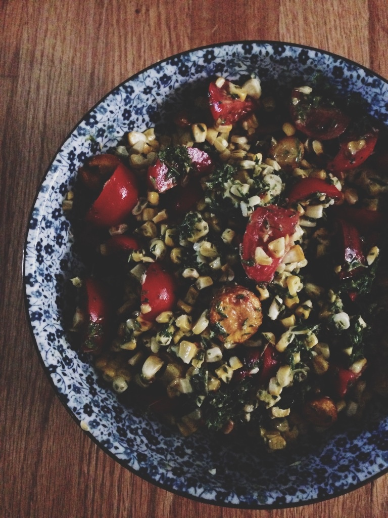 Summer Vegetable Salad with Carrot Green Chimichurri // Dula Notes