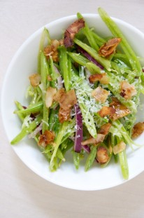Vegetarian Snap Pea Salad with Coconut Bacon // Dula Notes