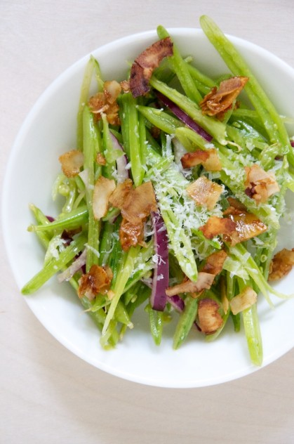 Vegetarian Snap Pea Salad with Coconut Bacon // www.dulanotes.com @nicoledula