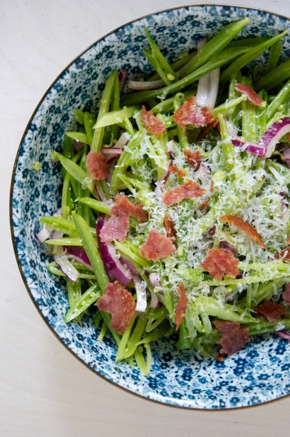 Snapped Pea Salad with Pecorino and Crispy Salami // www.dulanotes.com @nicoledula