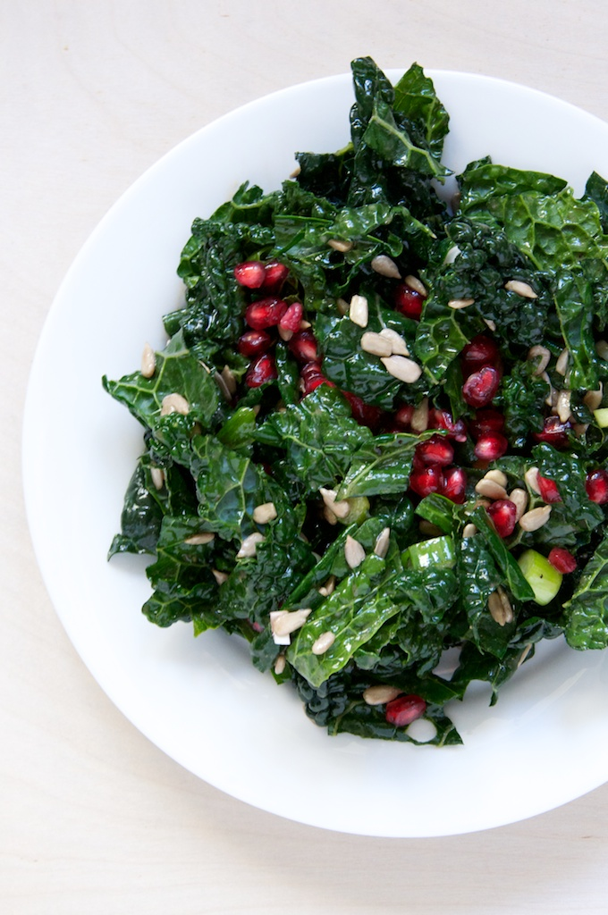 Pomegranate Kale Salad with Maple Dijon Vinaigrette Recipe // www.dulanotes.com @nicoledula