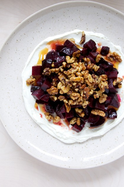 Beet Salad with Whipped Goat Cheese and Maple Walnuts Recipe // www.dulanotes.com @nicoledula