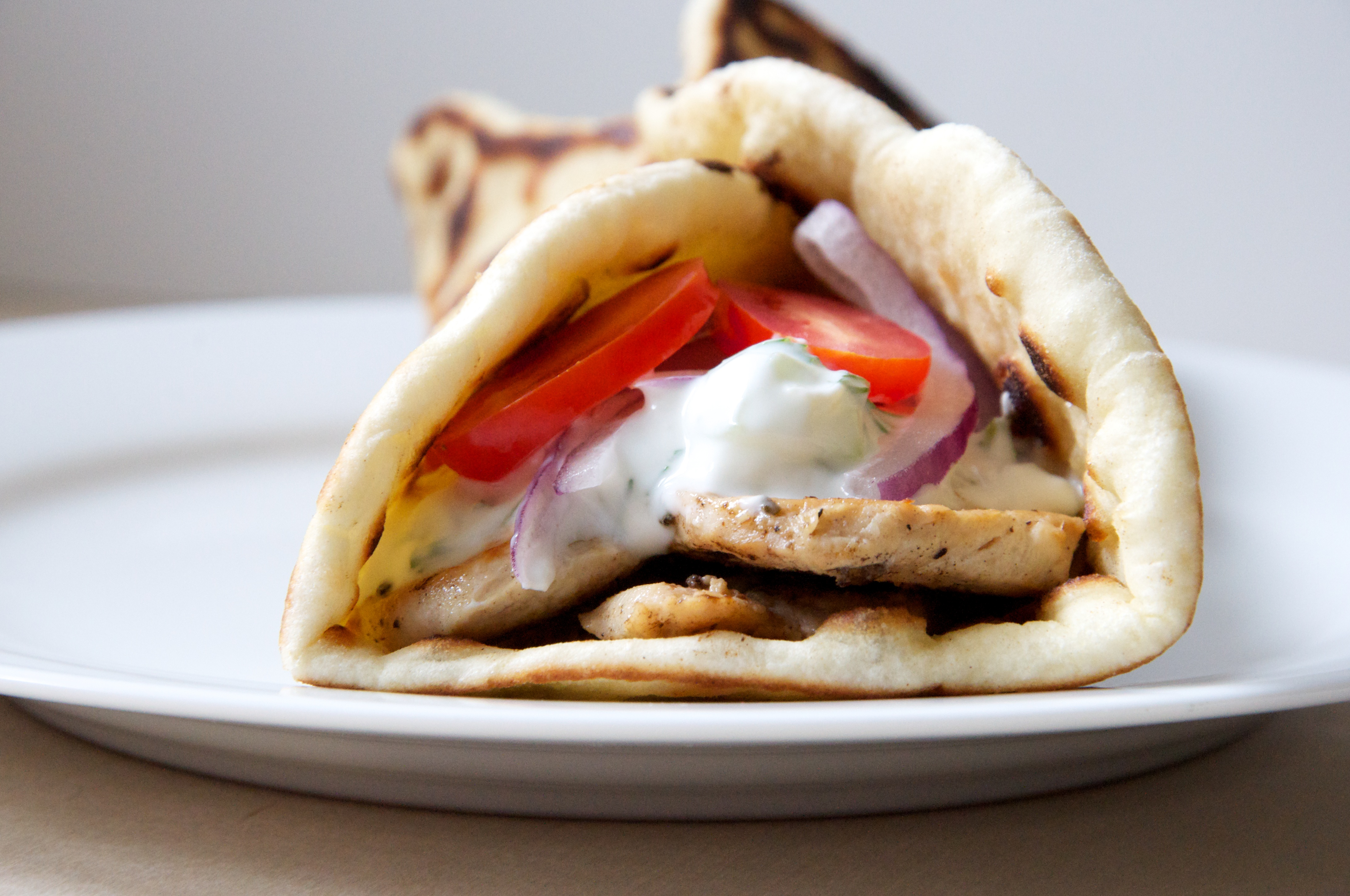 Greek Chicken Pita Wraps Recipe // @nicoledula
