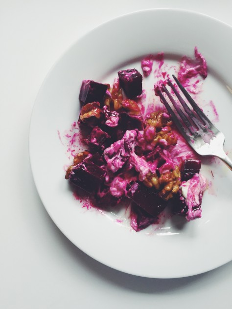 beet salad with whipped goat cheese and maple walnuts // @nicoledula