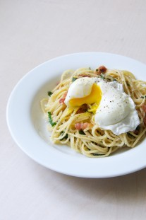 Spaghetti Carbonara with Ramps + Poached Eggs Recipe // @nicoledula