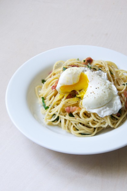 Ramp Spaghetti Carbonara with Poached Eggs | Dula Notes
