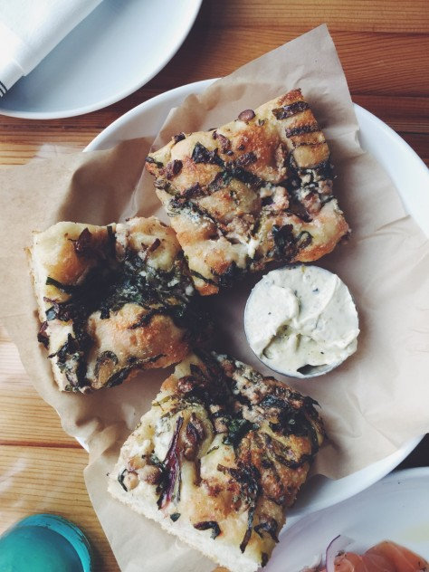 Gold Cash Gold in Detroit, Michigan - Shiitake + Beet Greens Focaccia with Fermented Chili Butter // @nicoledula #Detroit