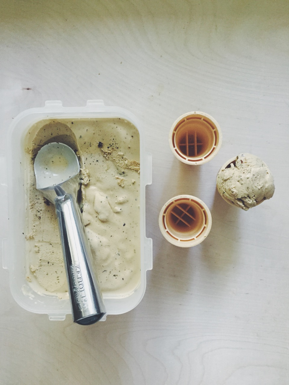 Basil Chocolate Chip Ice Cream Recipe // @nicoledula #recipe