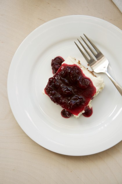 Cheesecake with Pomegranate-Vanilla Bean Cranberry Sauce Recipe // @nicoledula