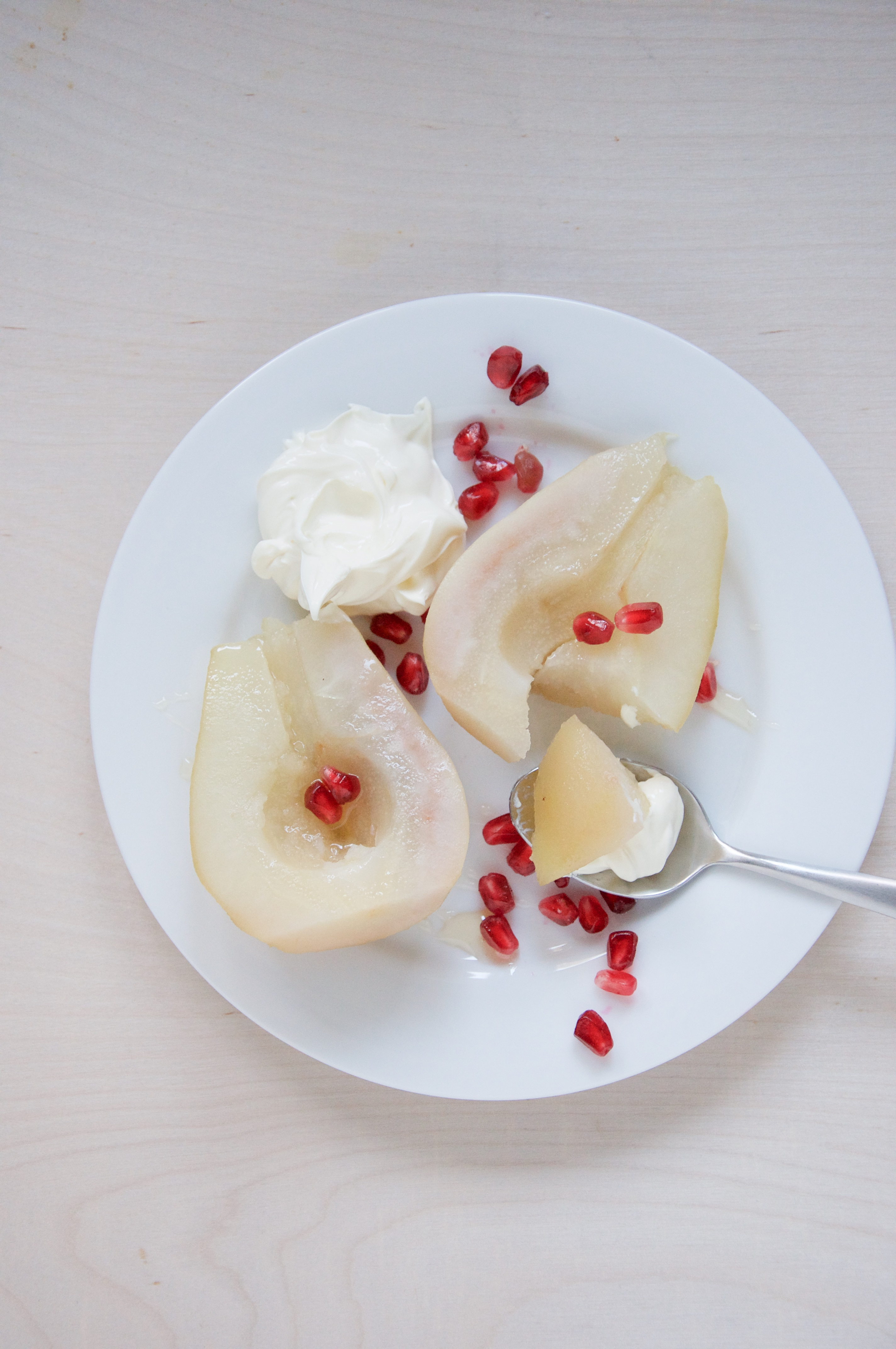 Poached Cardamom Pears with Mascarpone + Honey Recipe // @nicoledula