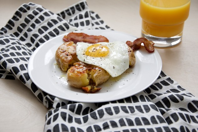 Smashed Crispy Potatoes with Eggs and Lemon Vinaigrette Recipe // @nicoledula