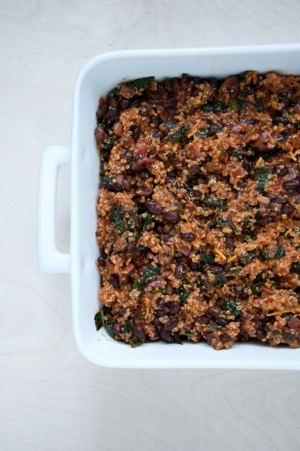 Vegetarian Black Bean, Kale and Quinoa Enchilada Bake Recipe // @nicoledula