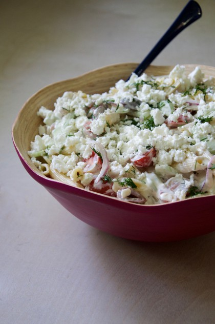 Greek Pasta Salad Recipe // @nicoledula
